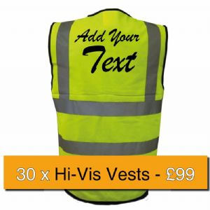 30 x Printed Uneek Hi-Vis Vests